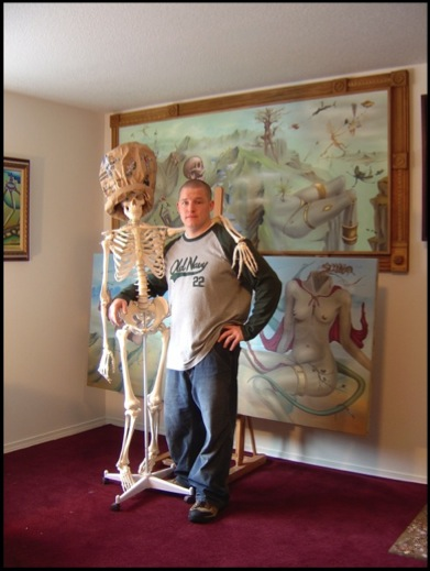 The artist BRIMS and Roger the Skeleton